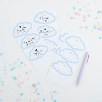 Blue Baby Shower Party Guest Stickers